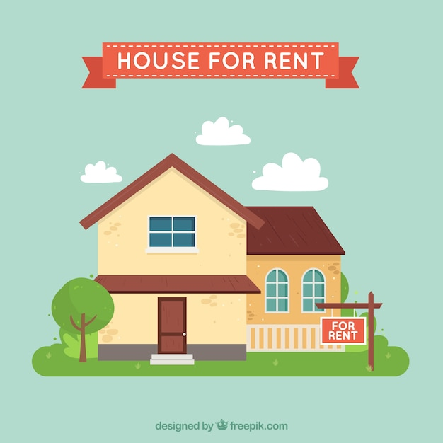 House Rent Com: House For Rent Background Vector