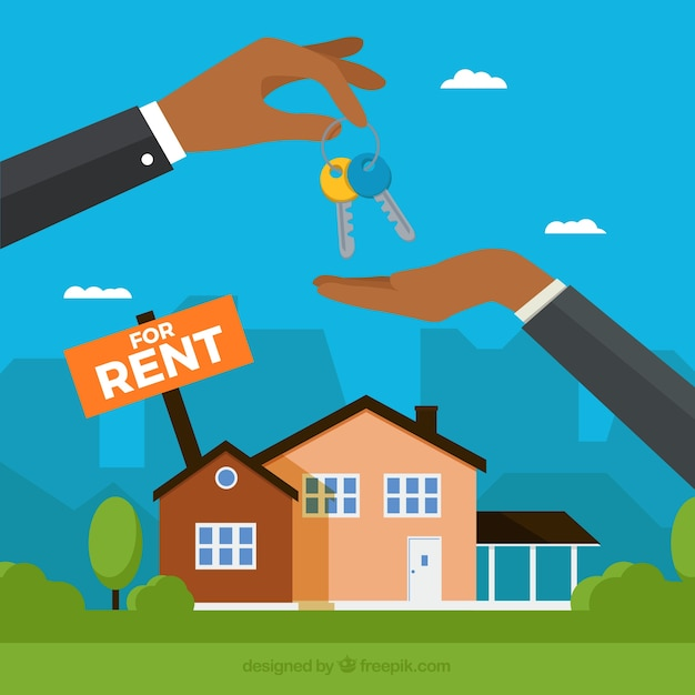 House Rent Com: House For Rent Concept Background Vector