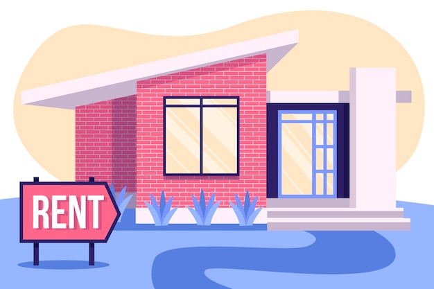 House for rent concept with placard Free Vector
