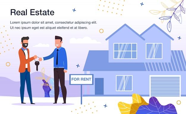 House renting service flat promo template Premium Vector