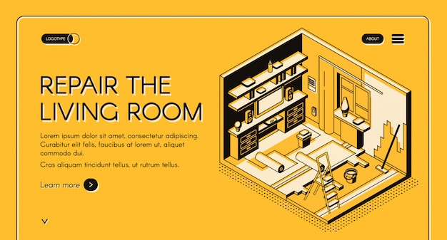 House repair service isometric vector web banner. Free Vector