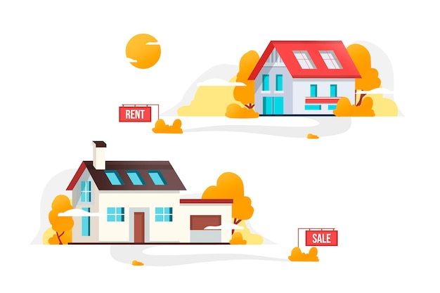 House for sale concept Free Vector