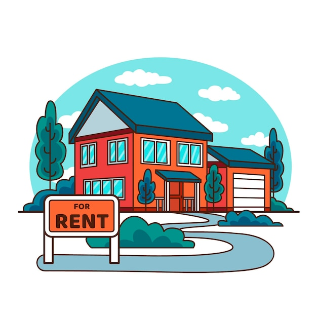 House for sale hand drawn design Free Vector