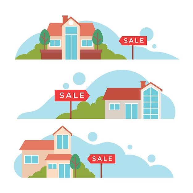 Casa in vendita il concetto di illustrazione Vettore gratuito