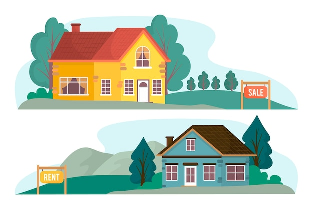House for sale illustration Free Vector