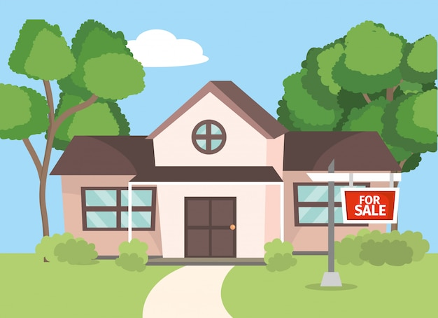 House for sale property project Premium Vector