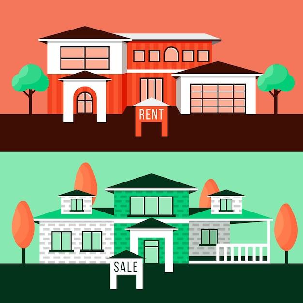 Illustrazione della casa in vendita / affitto Vettore gratuito