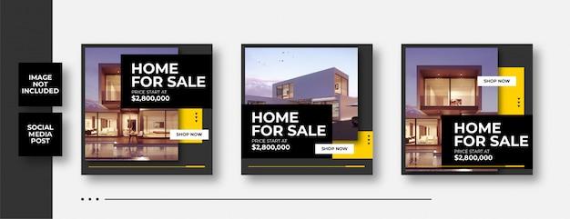 House for sale social media banner Premium Vector