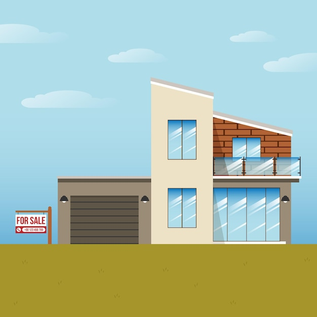 House for sale with sign Free Vector