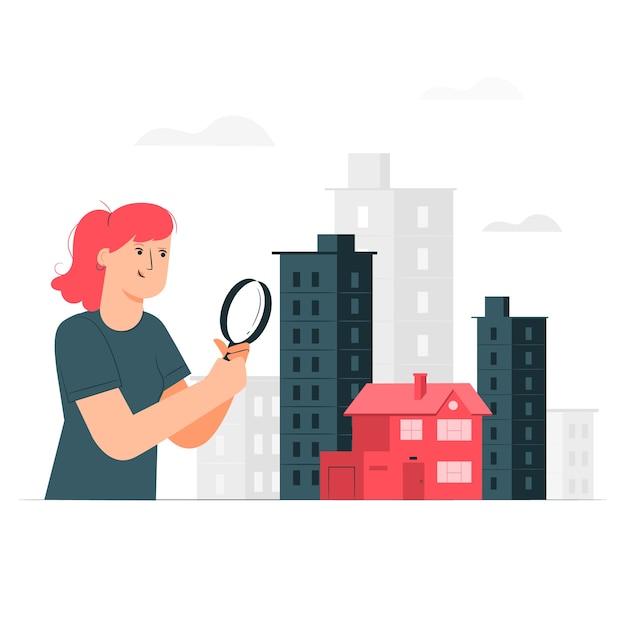 집 검색 개념 그림 무료 벡터