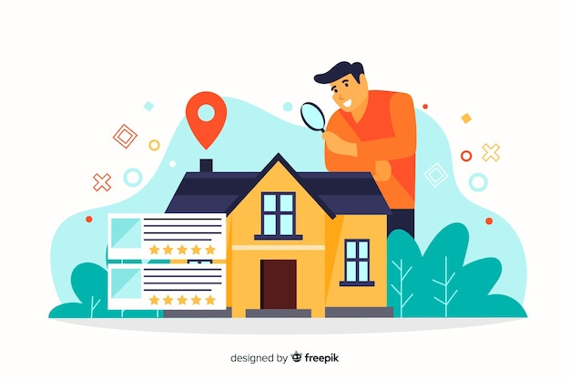 House searching concept for landing page Free Vector