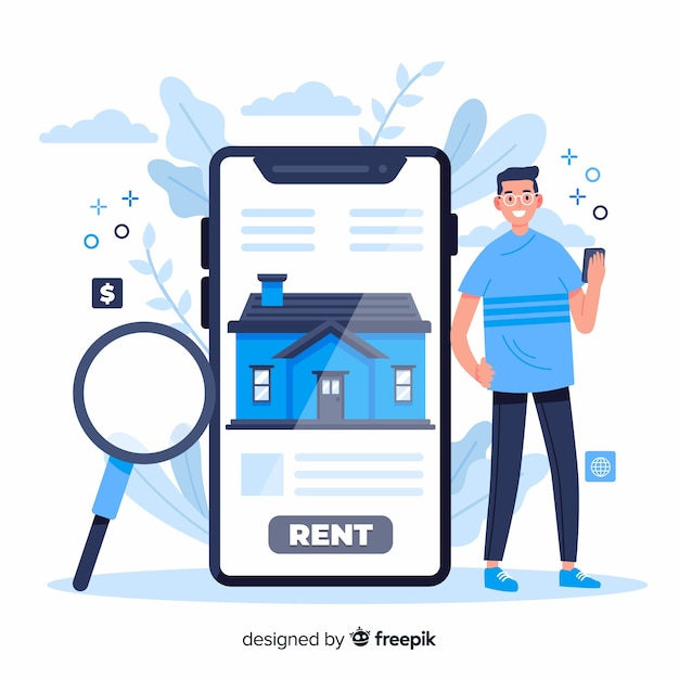 House searching landing page concept Free Vector