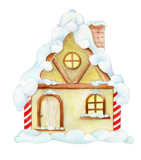 Ảnh vector ngôi nhà màu vàng chìm trong tuyết