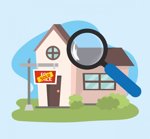 House sold property plan with magnifying glass Premium Vector