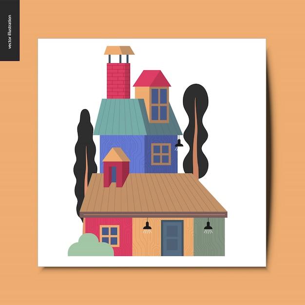 House, summer postcard Premium Vector