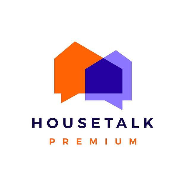 ハウストークチャットバブルロゴベクトルアイコンイラスト Premiumベクター