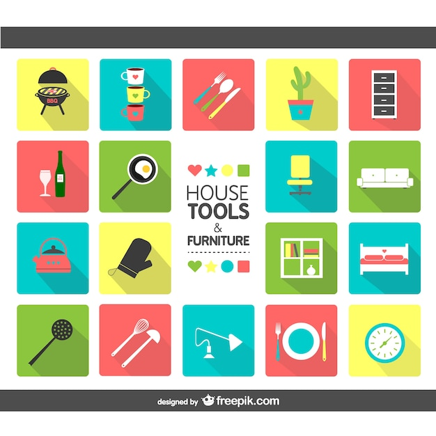 creative furniture icons set flat design. House Tools And Furniture Icons Free Vector Creative Set Flat Design