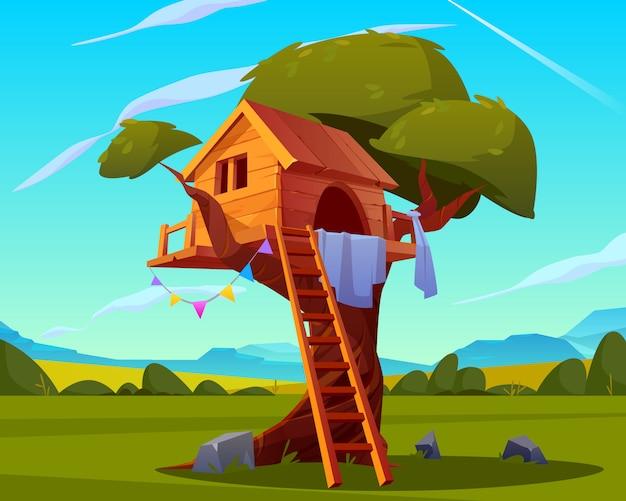 House on tree, empty children playground Free Vector