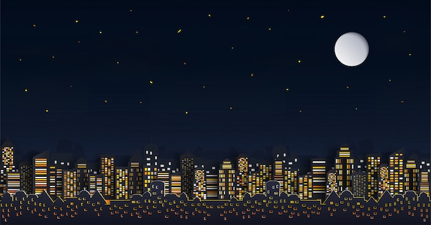 House or village.and cityscape with group of skyscrapers in the night. Premium Vector