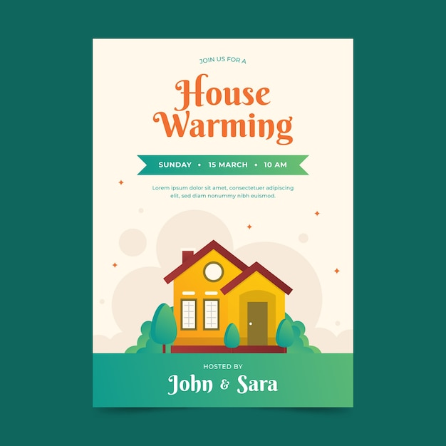 House warming party invitation design Free Vector
