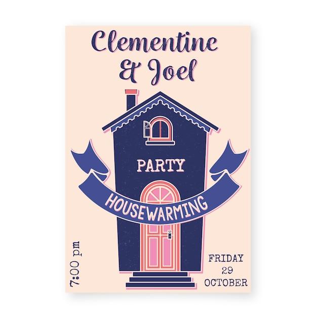 Tema di invito alla festa di riscaldamento casa Vettore gratuito