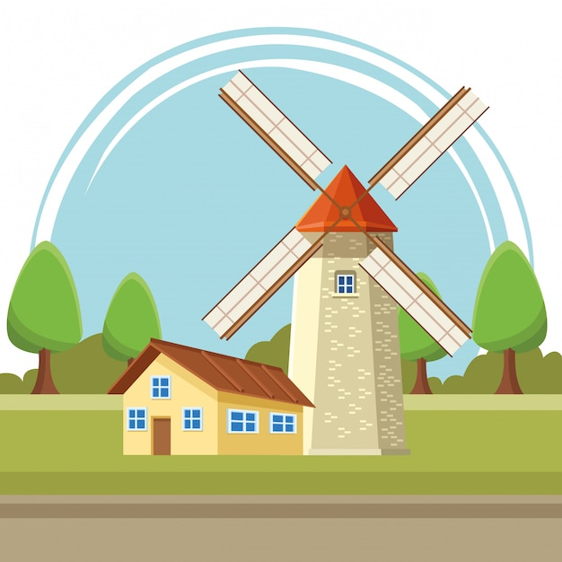 House and windmill illustration cartoon Premium Vector