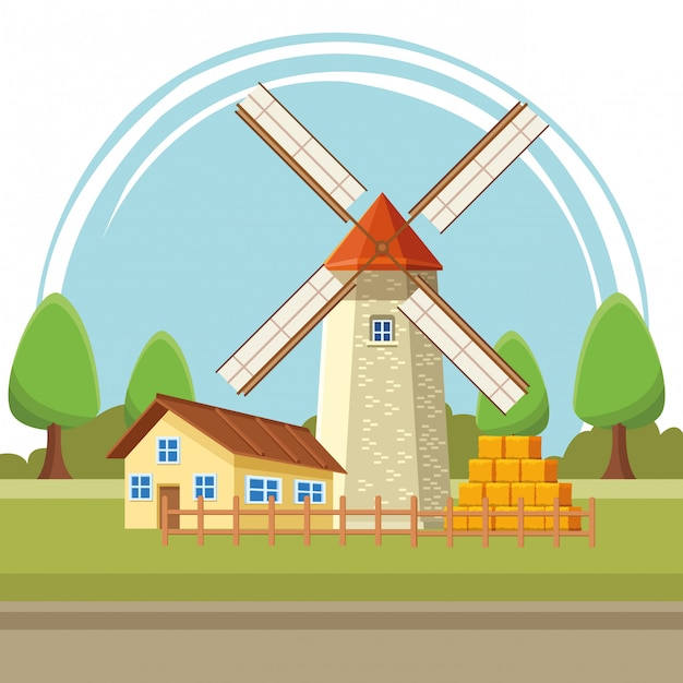 House and windmill illustration cartoon Premium Vector