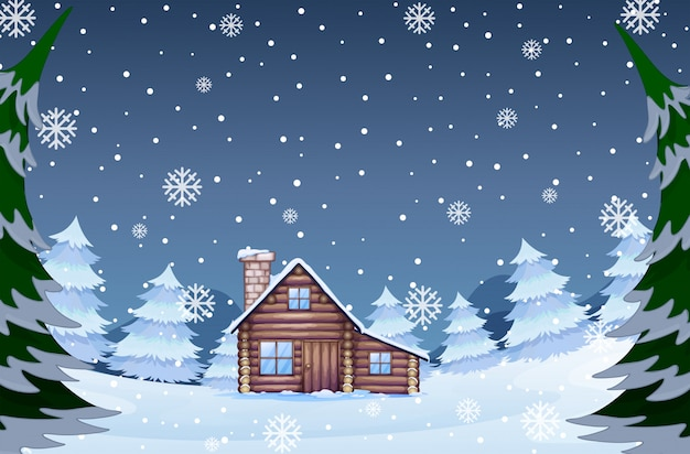 House in the winter forest Free Vector