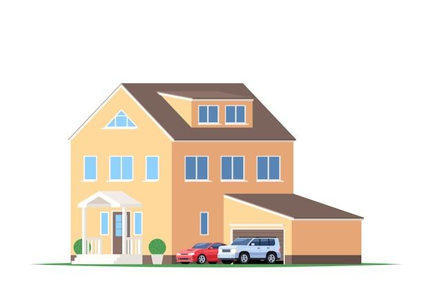 차고 및 자동차, Suv 및 스포츠카가있는 집. 프리미엄 벡터