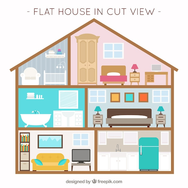 House with interior view and furniture in flat design for Interior design images vector