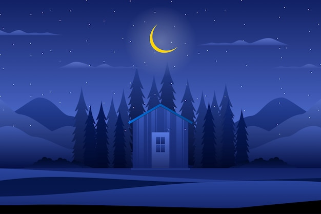 House with night forest Premium Vector
