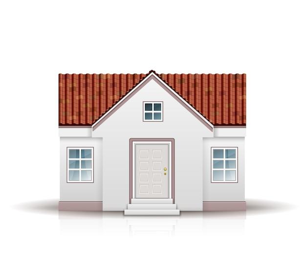 고립 된 빨간 지붕 집 무료 벡터