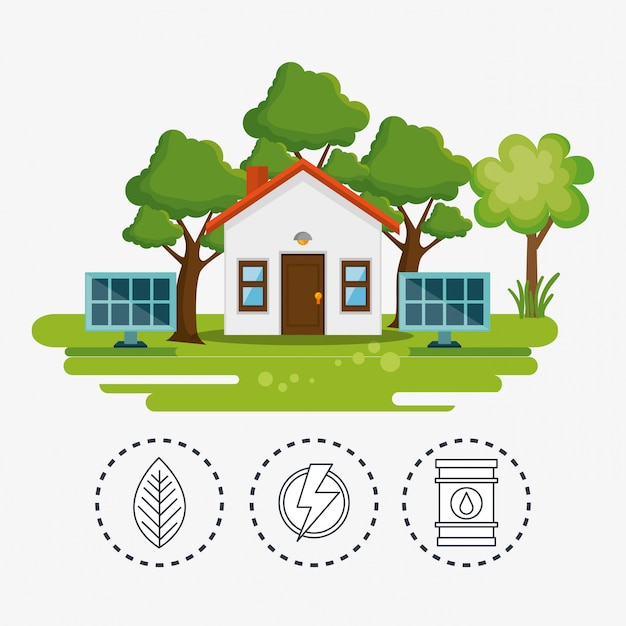 House with save the world icon Free Vector