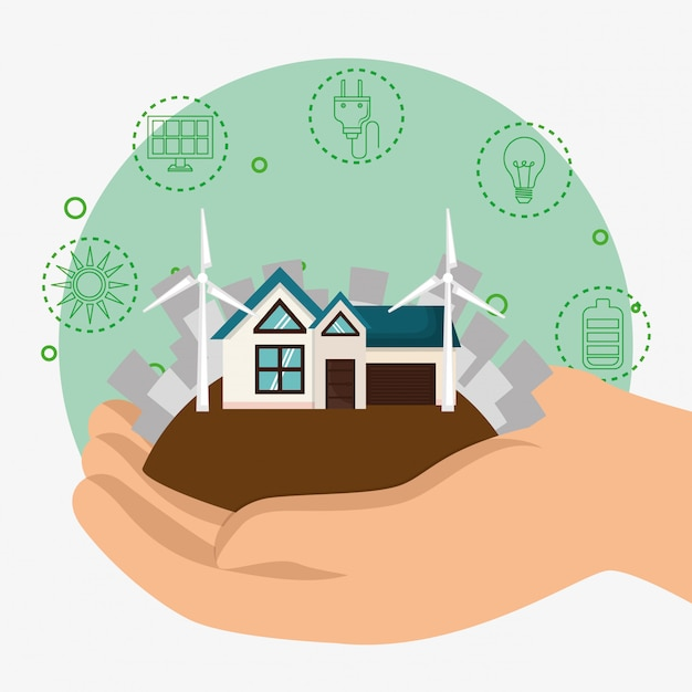 House with save the world icons Free Vector