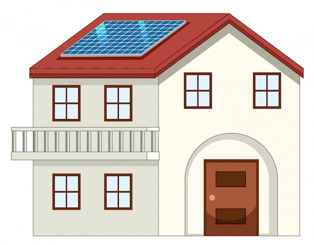 House with solar cell on the roof Free Vector