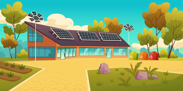 House with solar panels and sorting litter bins Free Vector