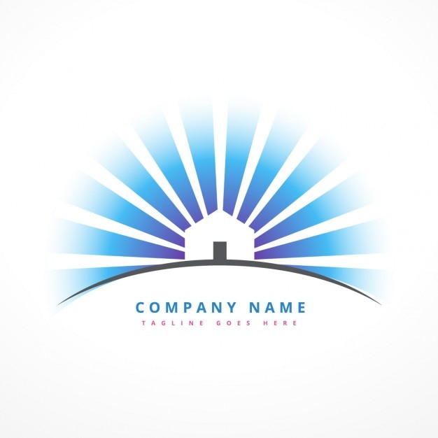 house with sun rays logo vector free download