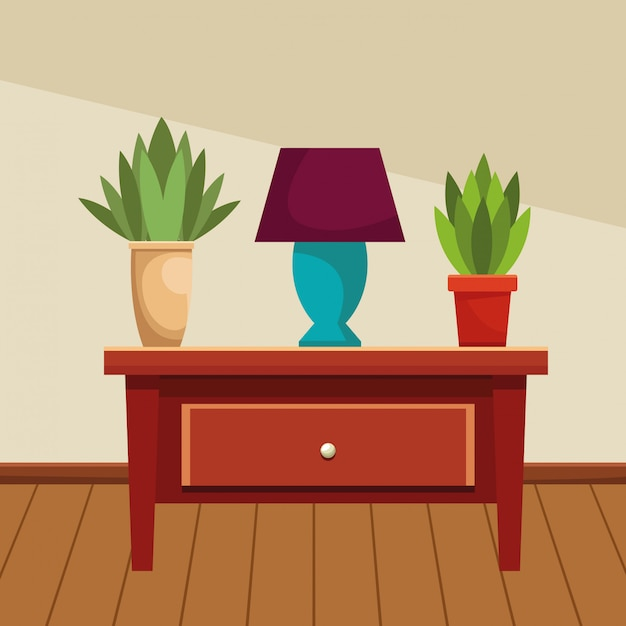 House wooden drawer with light lamp and plant pots Premium Vector