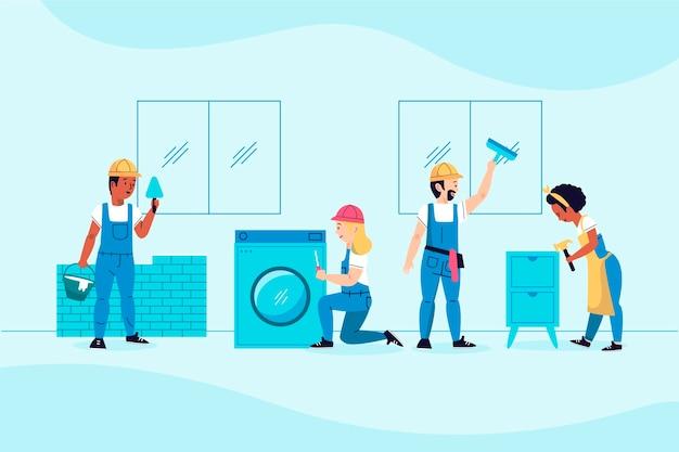 가정 및 혁신 직업 그림 무료 벡터