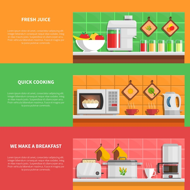 Household appliances banners set Free Vector