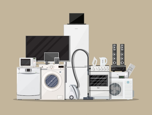 Household appliances and electronic devices Premium Vector