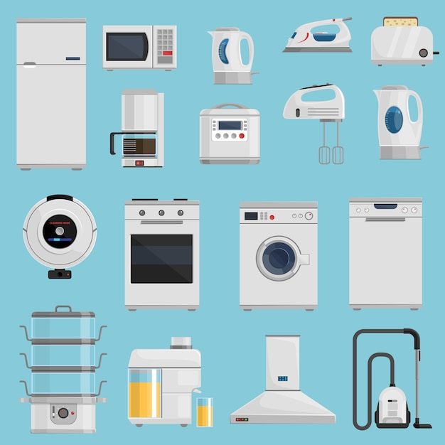 Household appliances icons set Free Vector