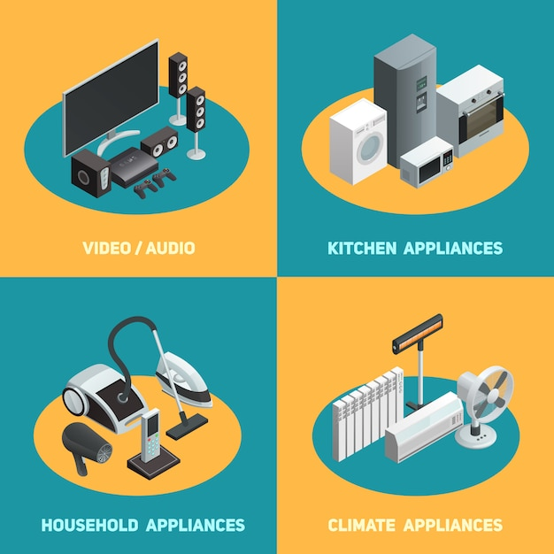 Household appliances isometric elements square Free Vector