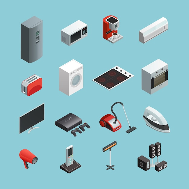 Household appliances isometric icons set Free Vector