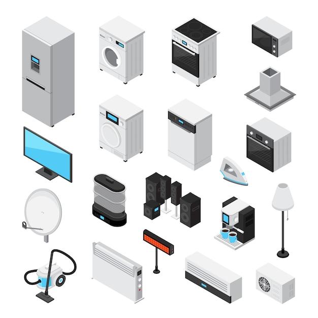 Household appliances isometric set Free Vector