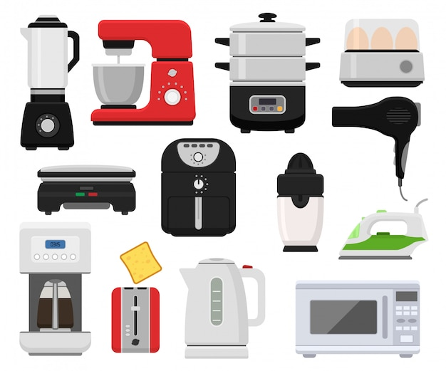 Household appliances vector kitchen homeappliance for house set cooker Premium Vector