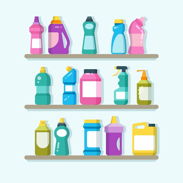 Household cleaner products and laundry goods on shelves. house cleaning service vector concept Premium Vector