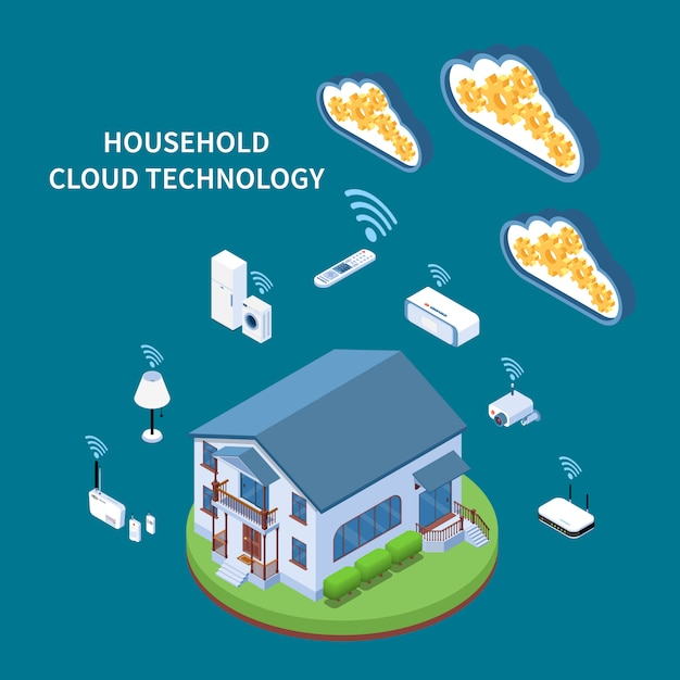 Household cloud technology isometric composition with residential building wifi appliances and devices blue green Free Vector