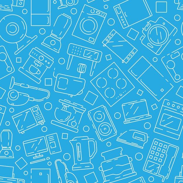 Household electronics seamless pattern Premium Vector