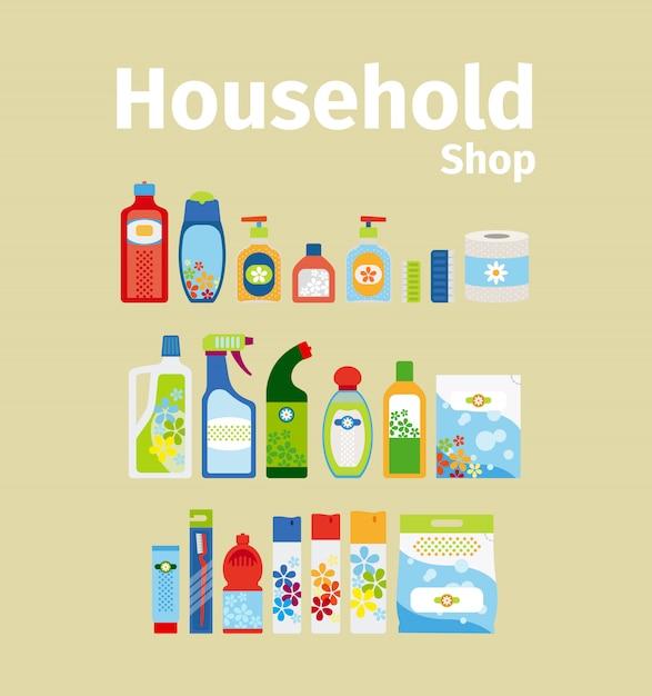 Household goods shop icon set Premium Vector